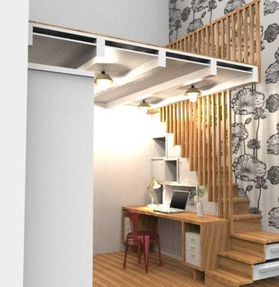 visuel 3D: mezzanine escalier agencement sur mesure